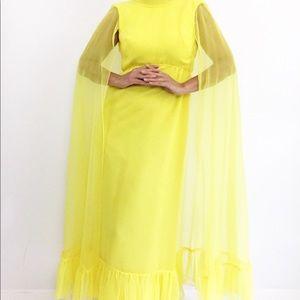 Vintage Dresses - Vintage Lemon Ruffled Maxidress W/Chiffon Cape